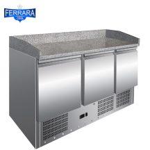 Hűtött pizzapult 3 ajtós gránit fedlappal, 400 literes Ferrara forni