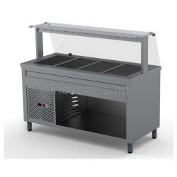 Hűtő pult 4xGN 1/1, egyenes üveges felépítmény 1500MM