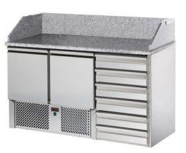 SL02C6 - Pizzaelőkészítő asztal, 2 ajtóval, 6 fiókkal