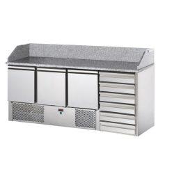 SL03C6 - Pizzaelőkészítő asztal, 3 ajtóval, 6 fiókkal