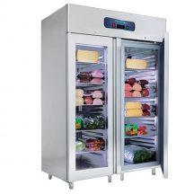 VN18-G - Rozsdamentes két üvegajtós hűtővitrin